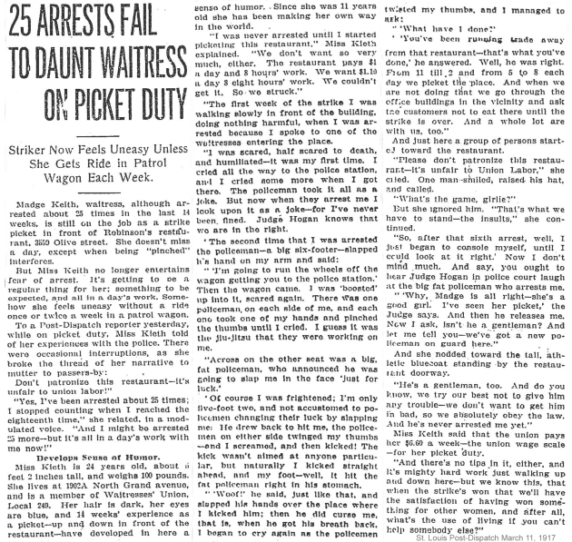 03-11-1917 25 arrests fail to daunt waitress on picket duty